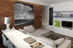 Il comfort del soggiorno riservato al relax si affianca alla zona lavoro, con scrivania e internet point.
