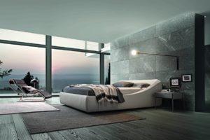 Il letto Brera di Presotto in versione monocromatica