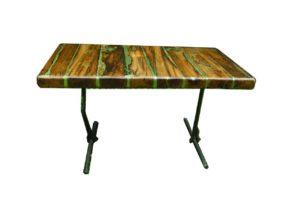 Lo Scuotimento di Flavio Golinelli, un tavolo realizzato con Legno e ferro provenienti da case distrutte dal terremoto in Emilia del 20 maggio 2012