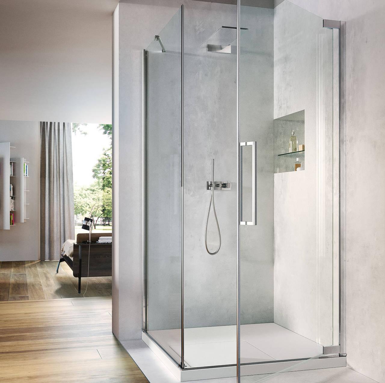 Comfort e design nella cabina doccia con anta a battente for Cabina doccia eklis montaggio