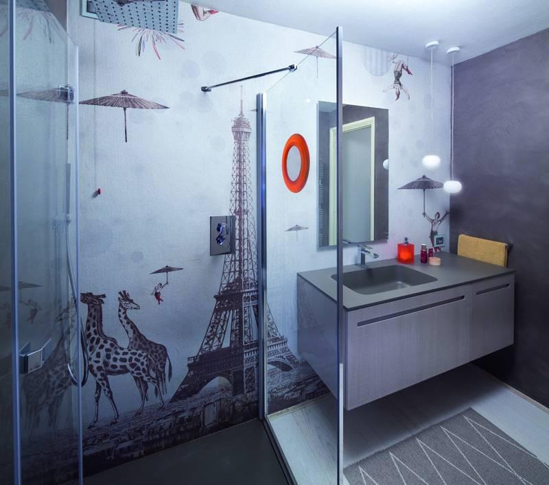 Carta da parati per il bagno di carattere - Carta da parati lavabile per bagno ...