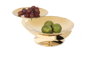 Centrotavola placcato oro cm 28x36x15, disponibile in altre dimensioni.