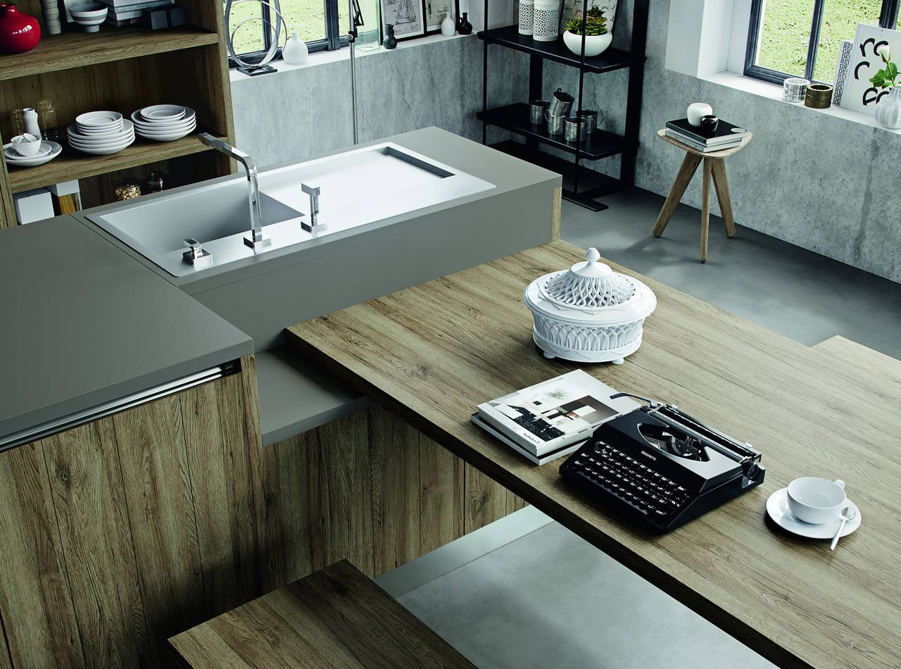 Cucine con finiture effetto legno ambiente cucina - Piani in laminato per cucine ...