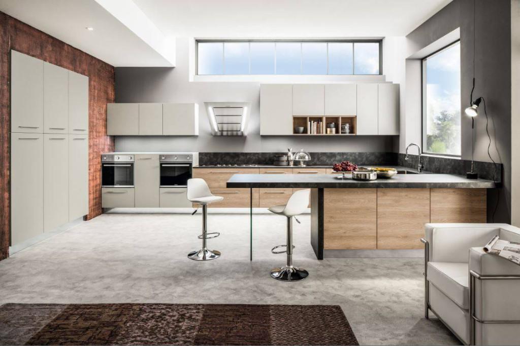 Cucina in laminato effetto legno modello Oriente Arrex Le Cucine