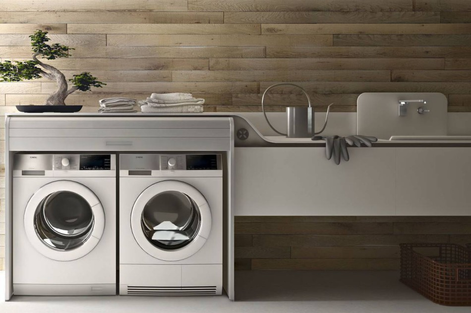 Lavanderia integrata in cucina ambiente cucina - Mobile lavatrice asciugatrice ...