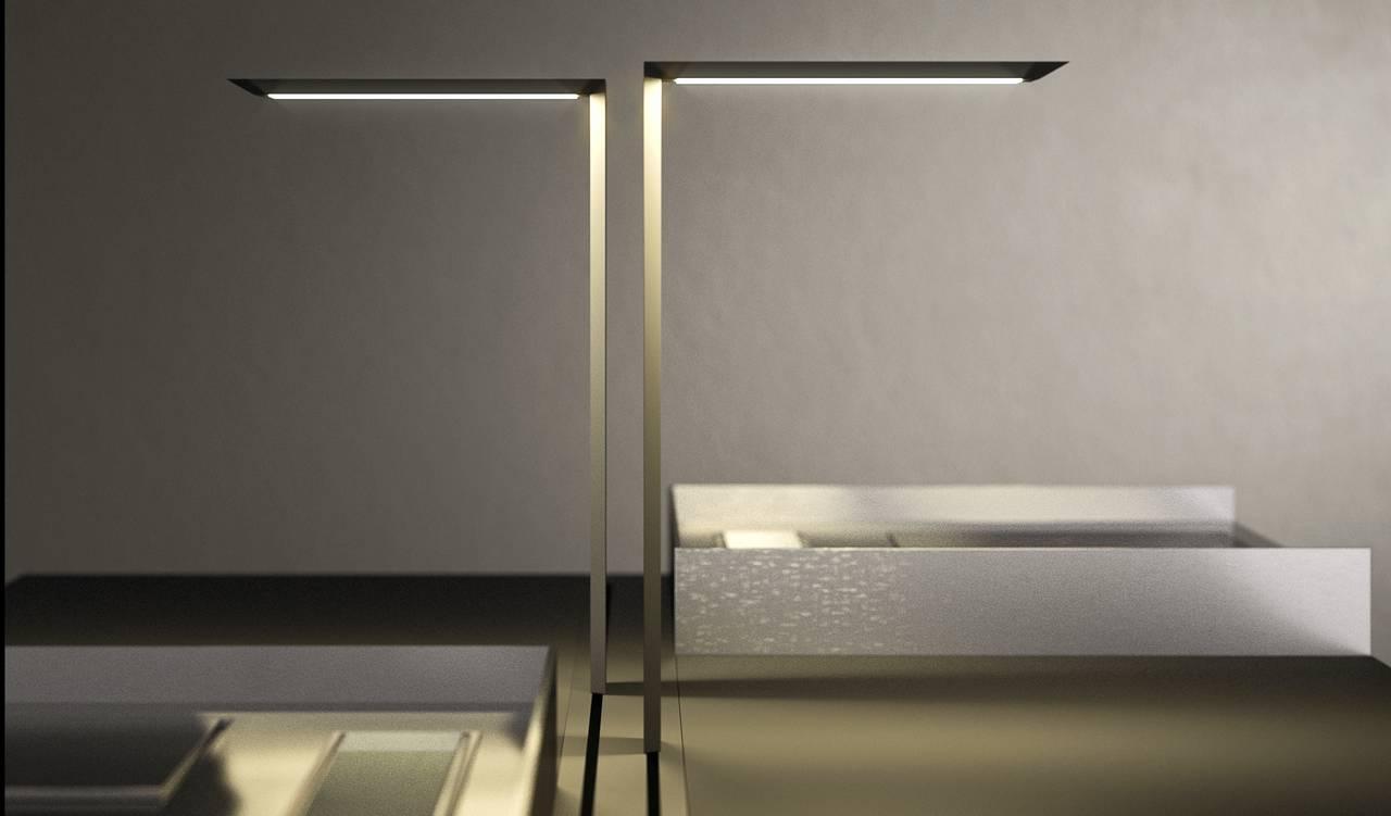 Il sistema di lighting design Focus On che permette la movimentazione dinamica dell'illuminazione sul top, con due lampade a Led che scorrono su binario e si ricaricano automaticamente quando vengono alloggiate in posizione off