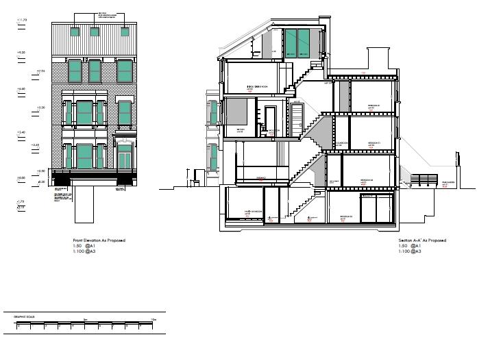 MINACCIOLO_progetto_Londra_prospetto e sezione laterale