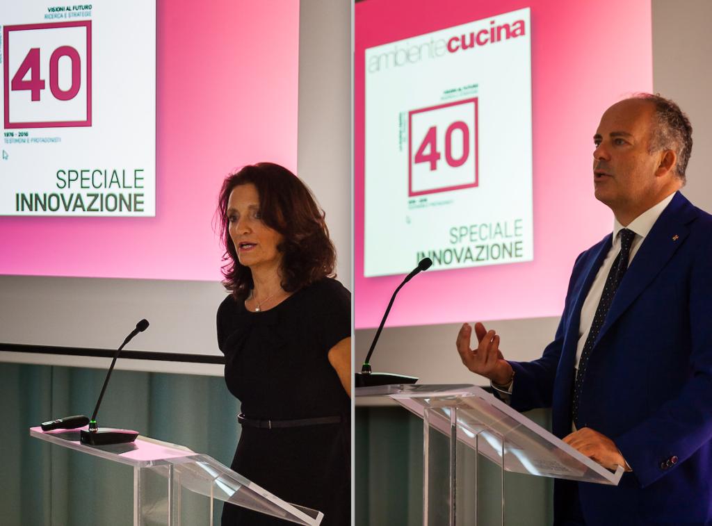 Ad aprire i lavori della serata dedicata a celebrare i 40 anni di ambiente Cucina sono intervenuti Raffaella razzano, direttore della rivista, e l'editore Ivo Nardella, Direttore generale del Gruppo Tecniche Nuove
