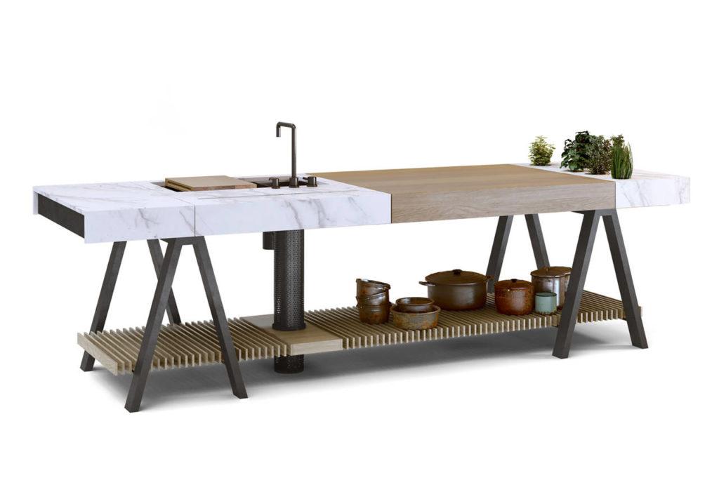 Realizzato con Neolith® by TheSize, Banco è una proposta di Sebastian Rial e Federico Senociaín per La Agenzia. Vincitore del prestigioso premio di platino al design A' Design Award, Il progetto ha ridefinito la concezione di tavolo da cucina trasformandolo in uno strumento  di lavoro personalizzabile