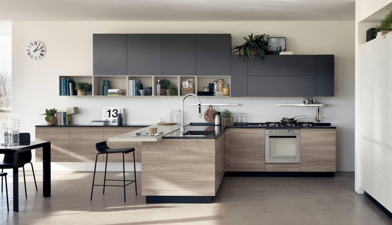 Il laminato che imita il legno ambiente cucina - Cucina laminato effetto legno ...