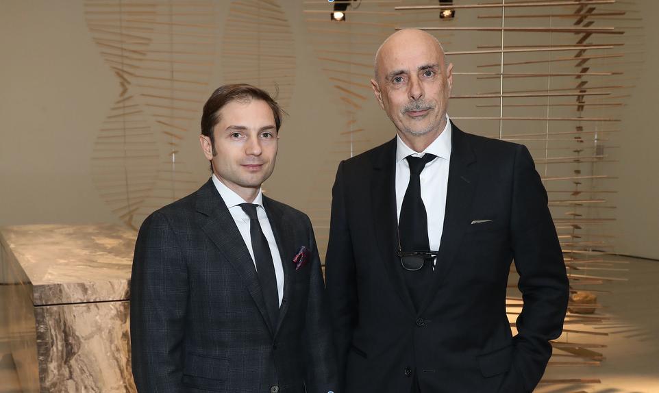 Emanuele Colombini, a sinistra, ad di Rossana, e Massimo Castagna, art director del brand