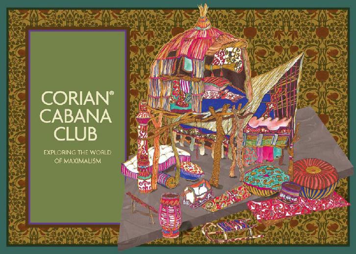 L'invito colorato alla mostra realizzata da Corian e Cabana