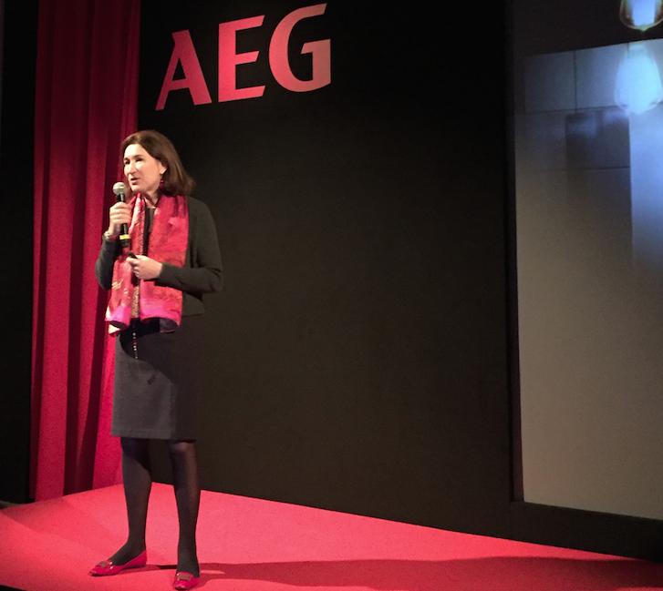 Manuela Soffientini, presidente e amministratore delegato major and small appliances cluster Italy Electrolux, alla presentazione della nuova gamma Mastery Range di AEG