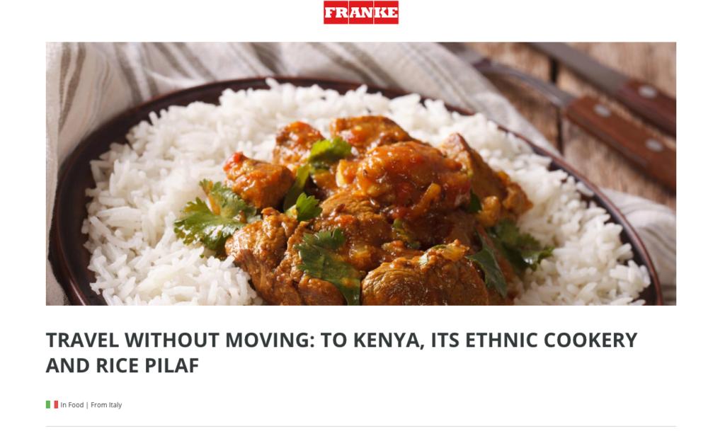 Le ricette pubblicate sul blog di Franke provengono da tutto il mondo, come il riso pilaf del Kenia pubblicato in questa immagine