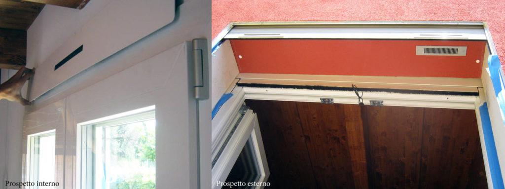 Prospetto di Ventilazione Meccanica Controllata: vista interna ed esterna