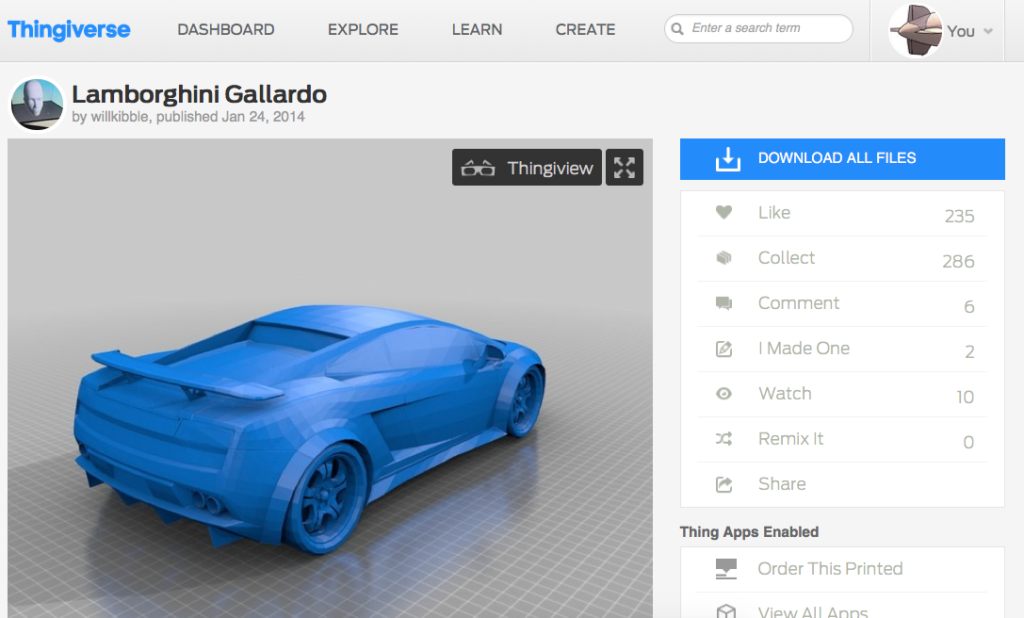 Lamborghini Gallardo Thingiverse