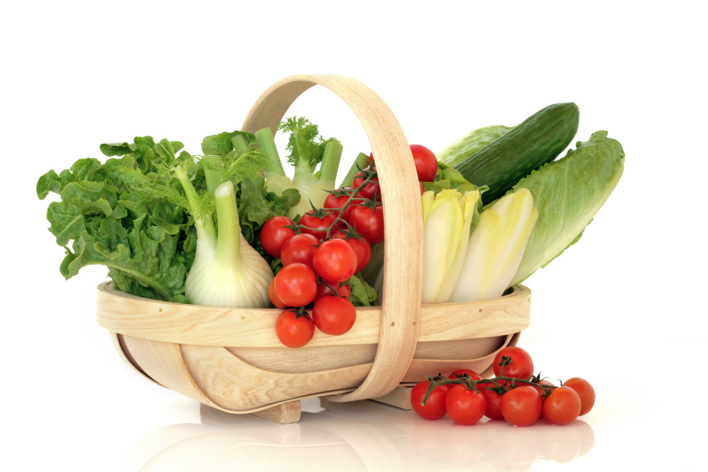 Salad Vegetables in a Basket