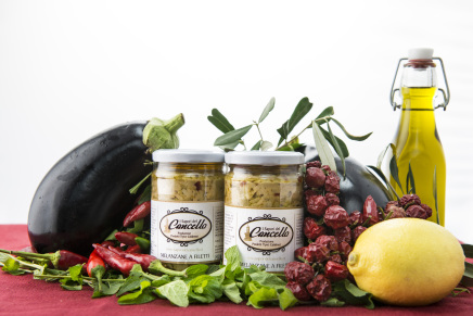 Food products in olive oil and patè from South of Italy