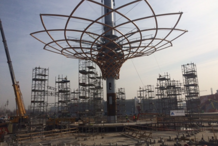 The Tree of Life, symbol of the Italian Pavilion at Expo 2015, is near completion